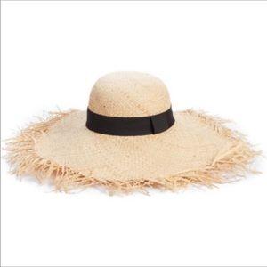 Bp- raw edge floppy straw hat